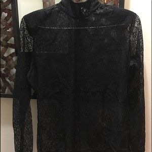 Lace top with zipper by the neck area worn